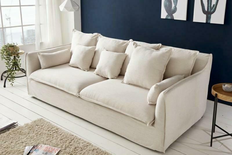 Sofa HEAVEN trzyosobowa lniana - tkanina