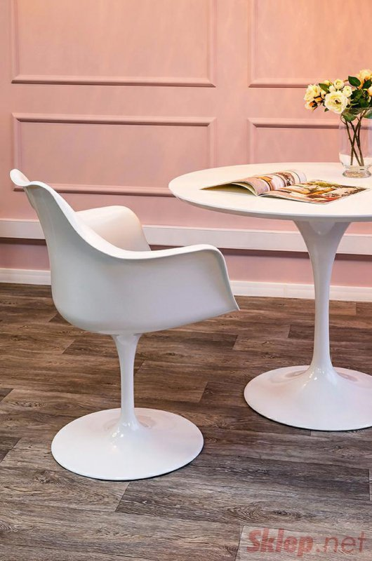 Stół TULIP PREMIUM 100 biały  - MDF, metal