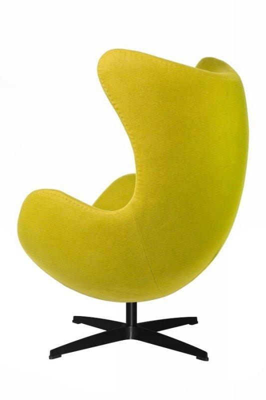 Fotel EGG CLASSIC BLACK zielona oliwka.20 - wełna, podstawa czarna