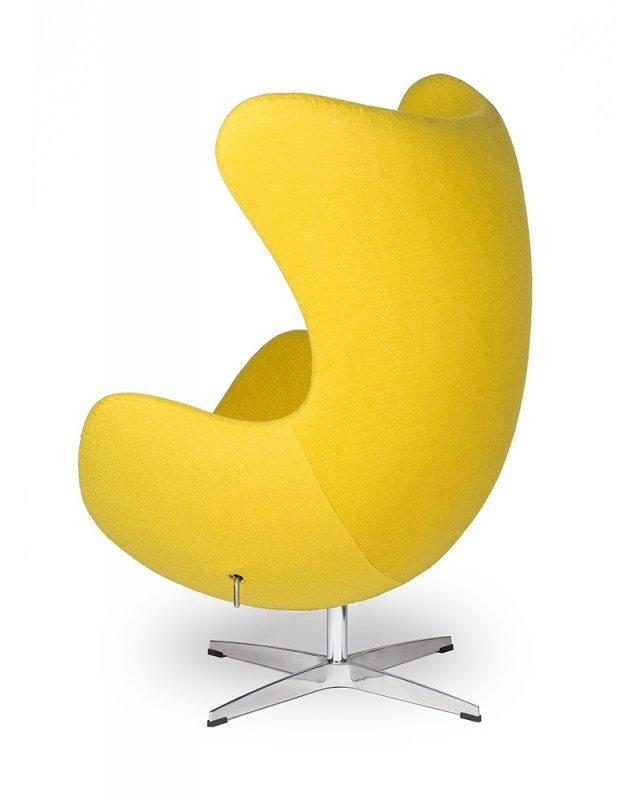 Fotel EGG CLASSIC z podnóżkiem musztardowy.21 - wełna, podstawa aluminiowa