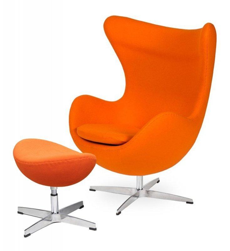 Fotel EGG CLASSIC z podnóżkiem  marchewkowy.38 - wełna, podstawa aluminiowa