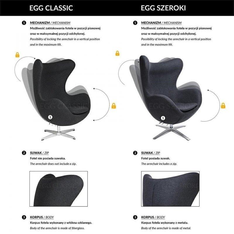 Fotel EGG CLASSIC z podnóżkiem  grafitowy szary.4 - wełna, podstawa aluminiowa