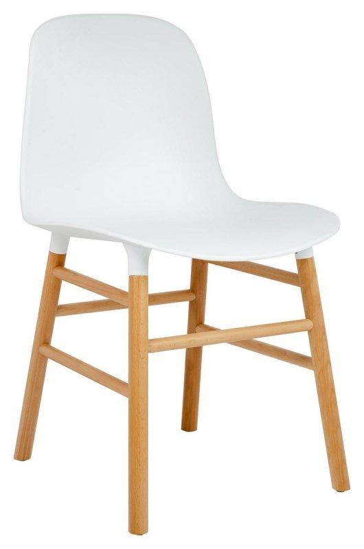 Krzesło IKAR białe - polipropylen, drewno bukowe