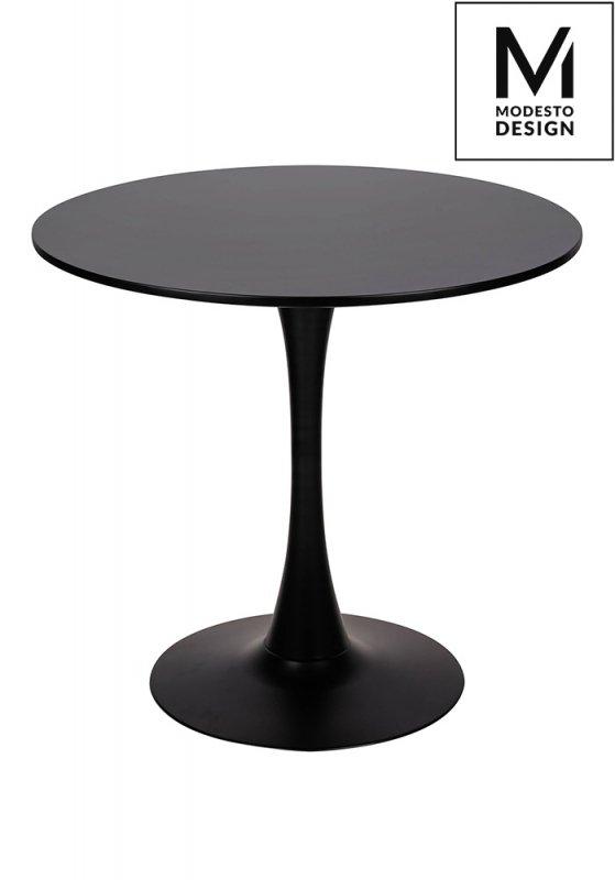 MODESTO stół TULIP FI 80 czarny - MDF, podstawa metalowa