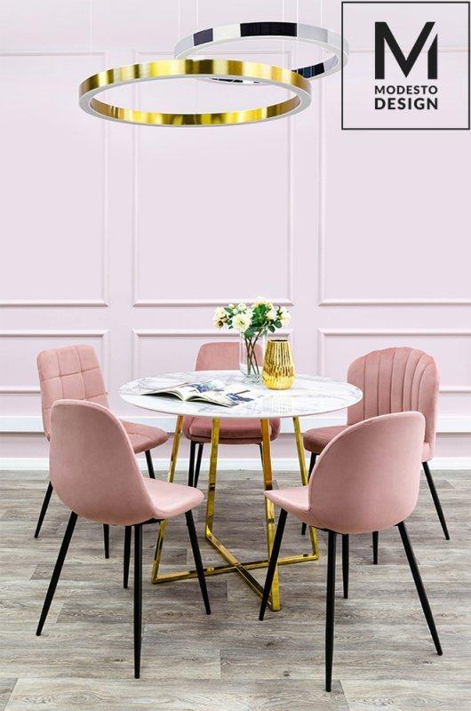 MODESTO krzesło CLOVER pudrowy róż - welur, metal