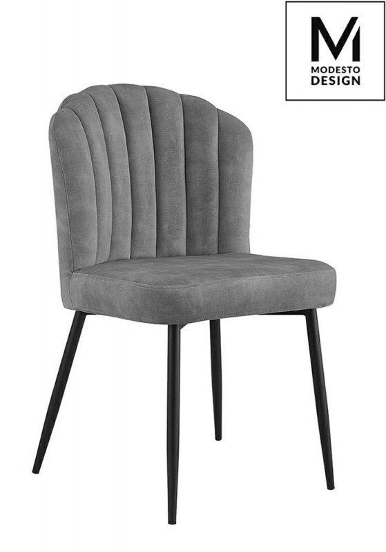 MODESTO krzesło RANGO szare - welur, metal