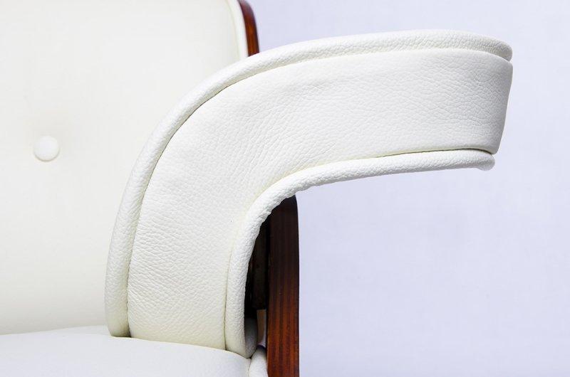 Fotel LOUNGE biały, sklejka różana - skóra naturalna