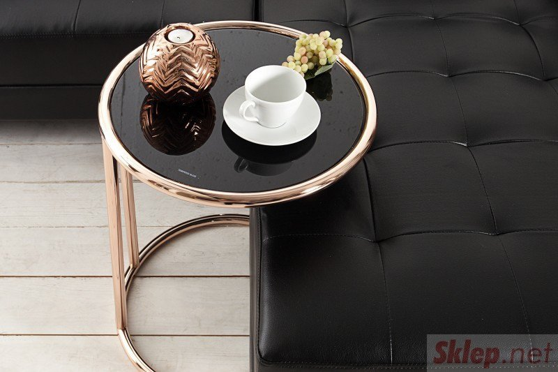 INVICTA stolik BRILANT miedziany - metal, szkło