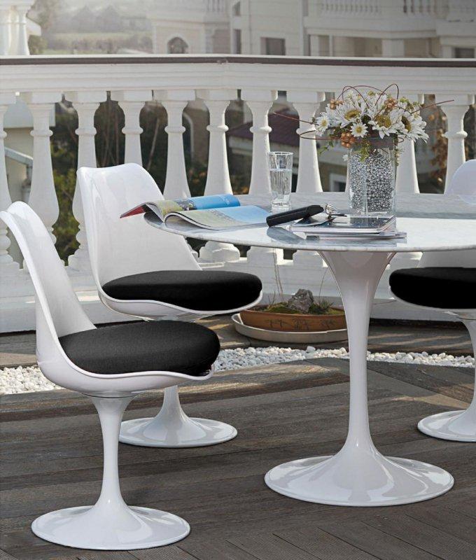 Stół TULIP MARBLE 100 CARRARA biały - blat okrągły marmurowy, metal