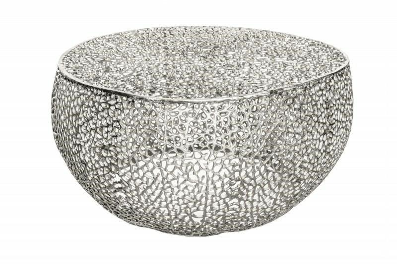 INVICTA stolik kawowy LEAF 80 srebrny - metal