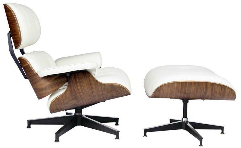 Fotel LOUNGE HM PREMIUM SZEROKI z podnóżkiem biały - sklejka orzech, skóra naturalna