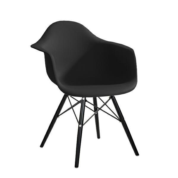 Fotel DAW BLACK czarny.03 - polipropylen, podstawa drewniana czarna