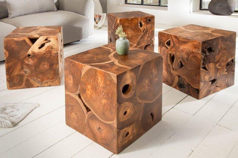 INVICTA stolik SQUARE 40 cm - drewno tekowe