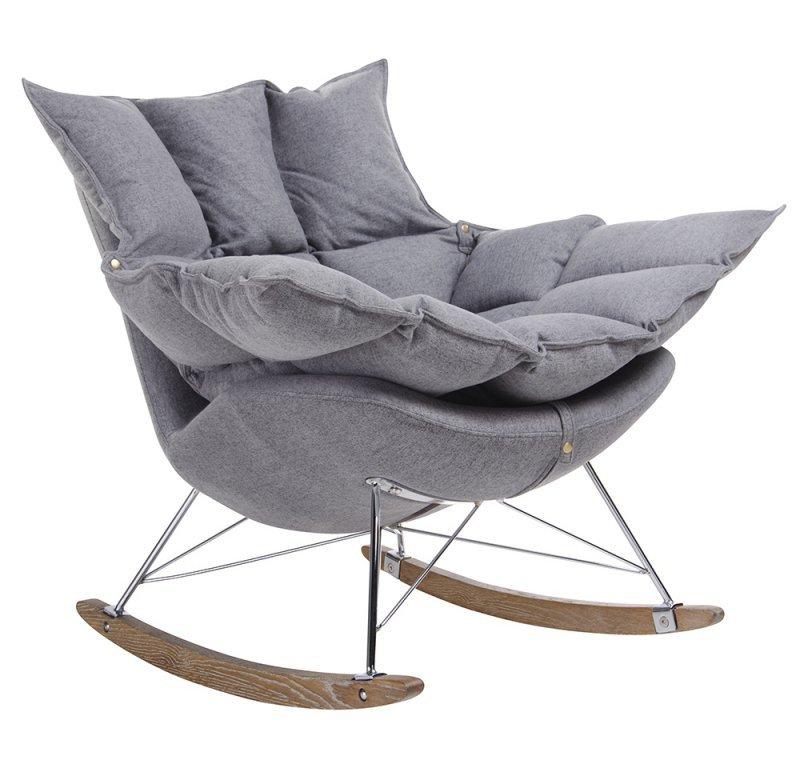 Fotel bujany SWING ciemny szary - tkanina, stal, drewno dębowe