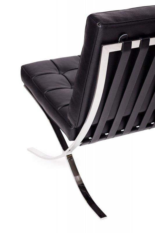 Sofa dwuosobowa BARCELON PRESTIGE PLUS czarna - włoska selekcjonowana skóra naturalna, stal