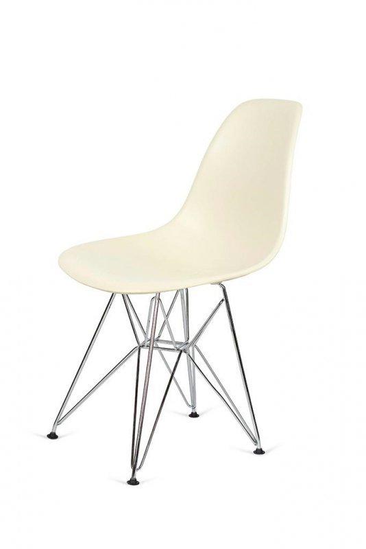 Krzesło DSR SILVER migdał imitacja  drewna - podstawa metalowa chromowana