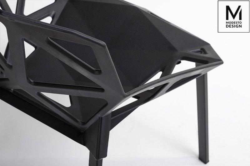 MODESTO krzesło SPLIT MAT czarne - polipropylen, podstawa metalowa