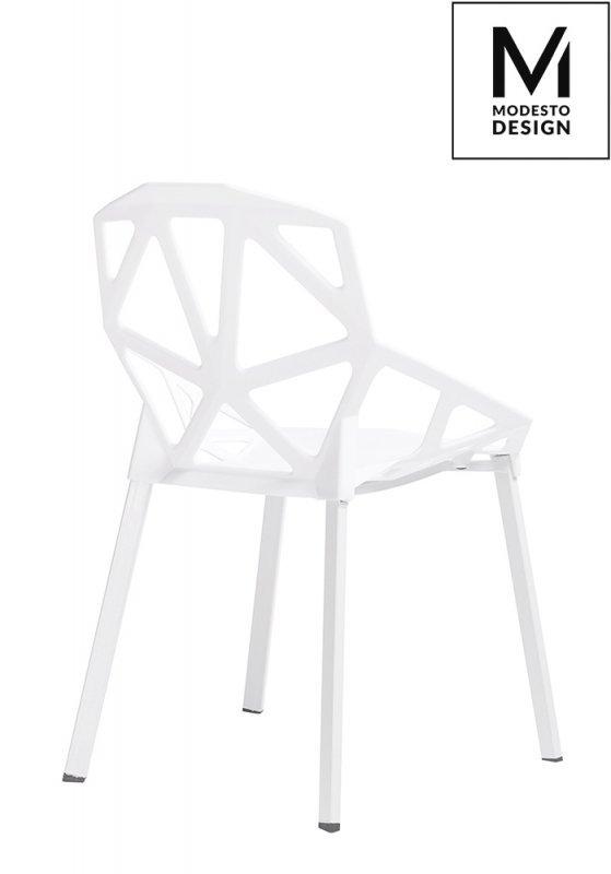 MODESTO krzesło SPLIT MAT białe - polipropylen, podstawa metalowa