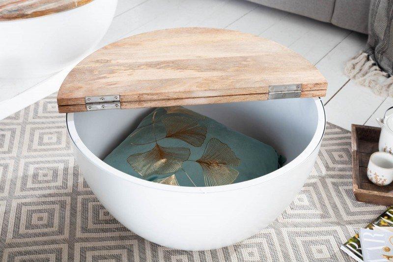 INVICTA stolik kawowy INDUSTRIAL STORAGE 70cm biały Mango