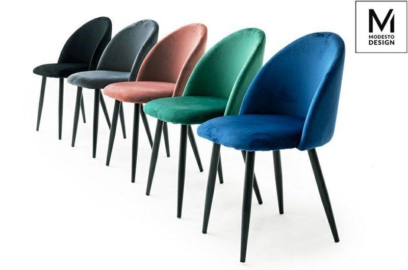 MODESTO krzesło NICOLE czarne - welur, metal