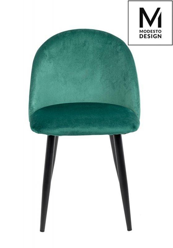 MODESTO krzesło NICOLE zielone - welur, metal
