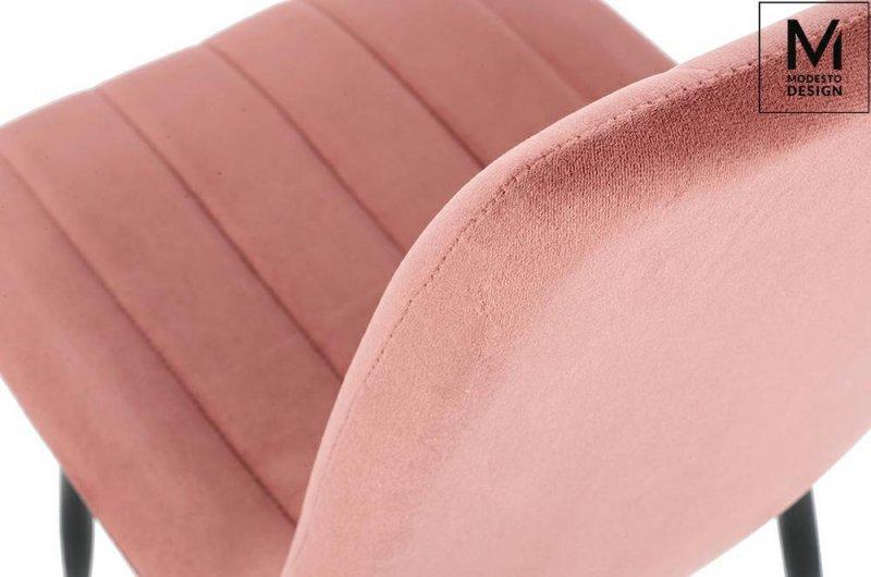 MODESTO krzesło LARA pudrowy róż - welur, metal