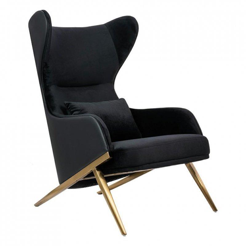 Fotel HAMPTON VELVET czarny, ekoskóra czarna - złota podstawa
