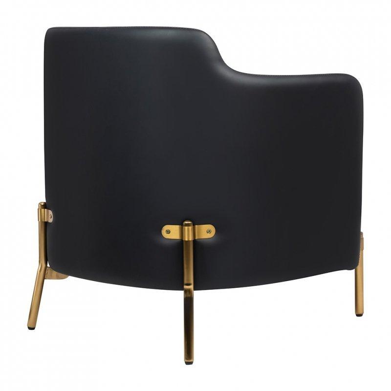 Fotel VENICE tkanina pepitka biało - czarna, ekoskóra - złota podstawa