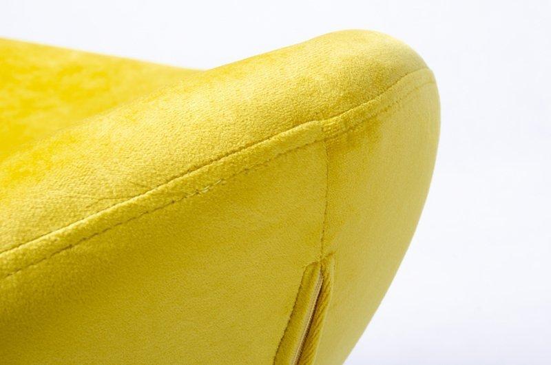 Podnóżek EGG SZEROKI VELVET żółty.20 - welur, podstawa stal