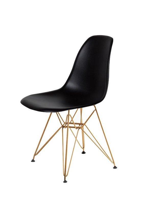 Krzesło DSR GOLD czarne.03 - podstawa metalowa złota