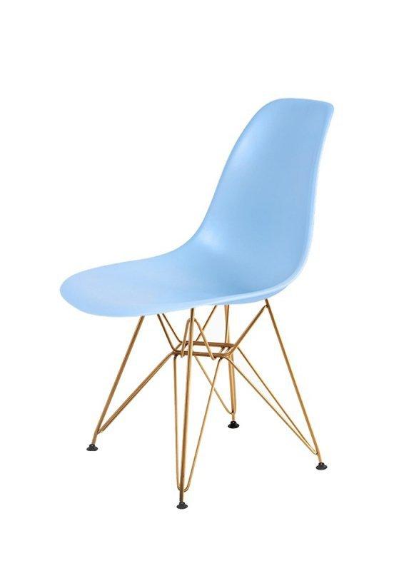 Krzesło DSR GOLD jasny niebieski.12 - podstawa metalowa złota