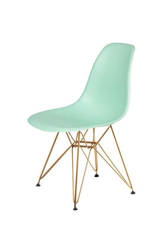 Krzesło DSR GOLD pastelowa mięta.14 - podstawa metalowa złota