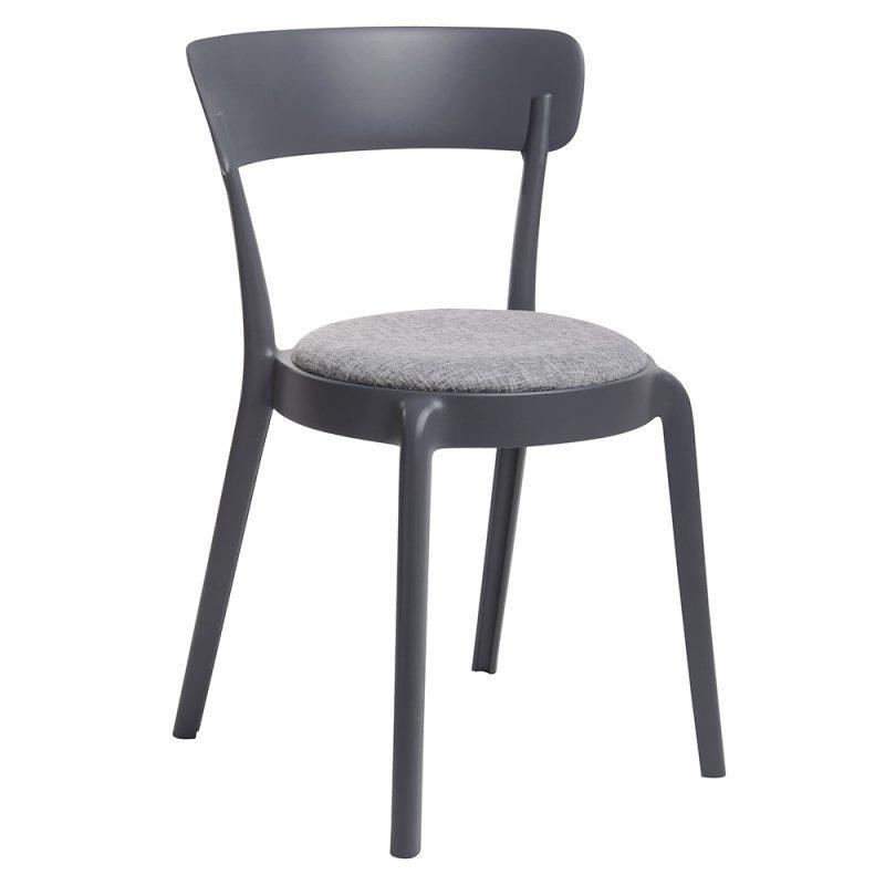 Krzesło FLUFFI grafitowe - poduszka szary melanż, polipropylen