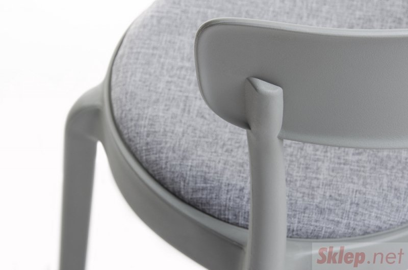 Krzesło FLUFFI szary moss  - szara poduszka, polipropylen