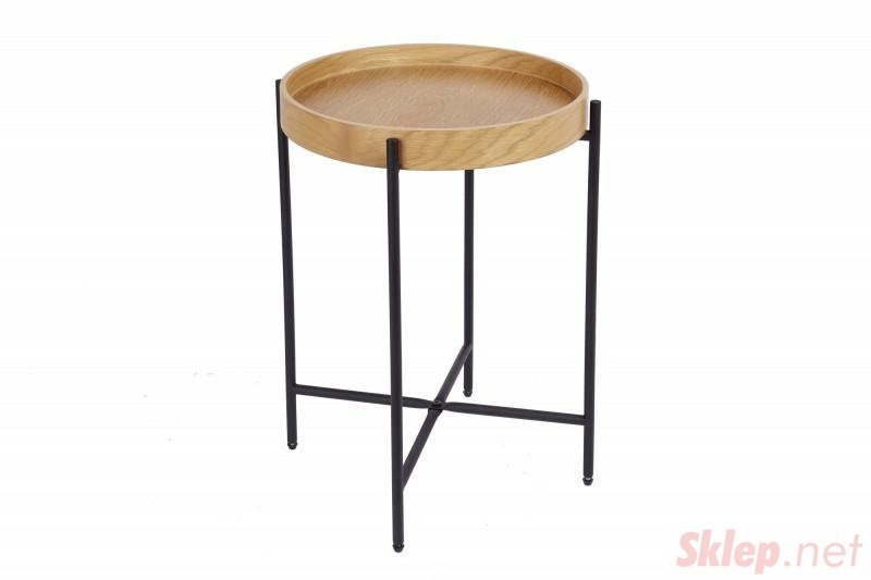 INVICTA stolik ELEMENTS 43 cm taca dębowa