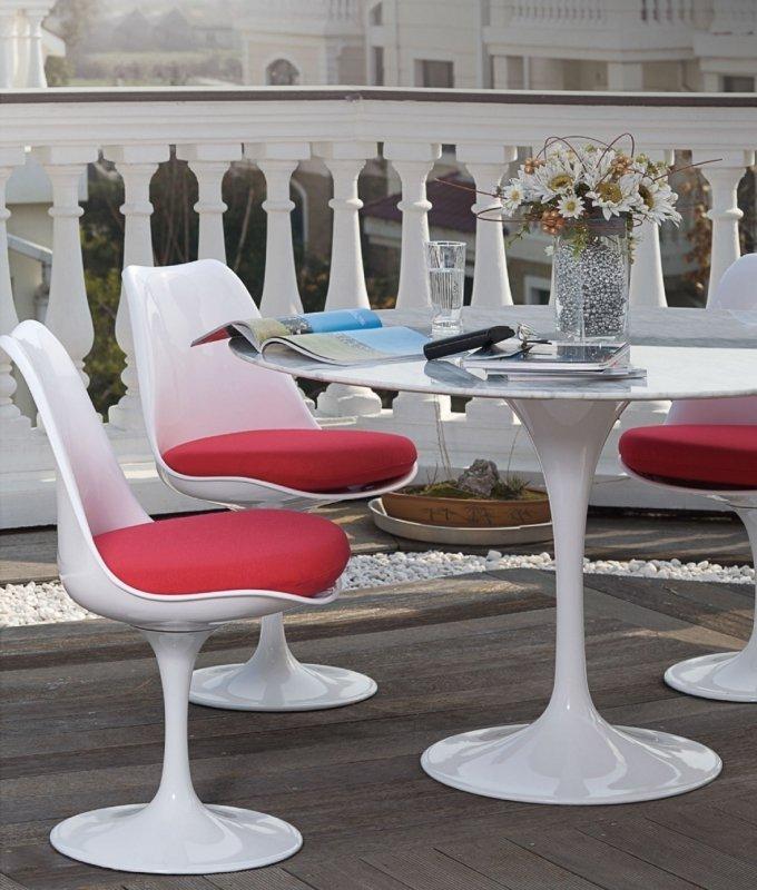 Stół TULIP MARBLE 90 CARRARA biały - blat okrągły marmurowy, metal