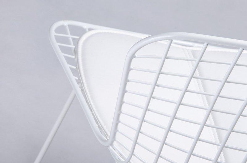 Krzesło NET SOFT białe - biała poduszka, metal