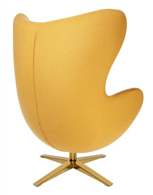 Fotel EGG SZEROKI GOLD musztardowy.13 - wełna, podstawa złota