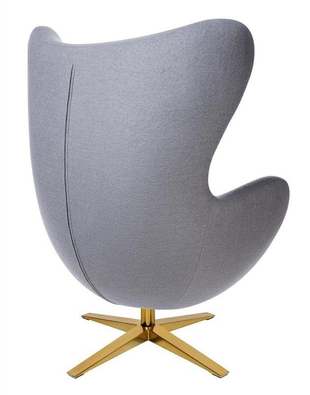 Fotel EGG SZEROKI GOLD szary.18 - wełna, podstawa złota