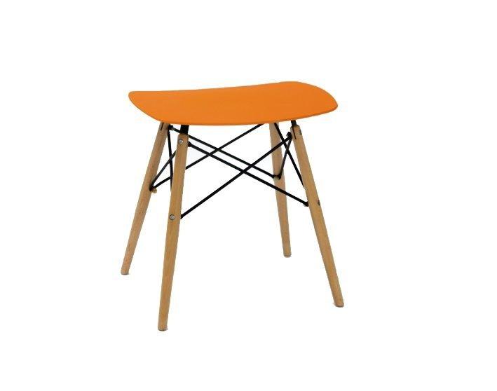Stołek HANDY pomarańczowy - polipropylen, buk
