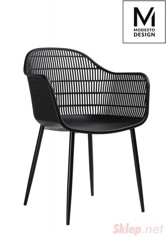 MODESTO krzesło BASKET ARM czarne - polipropylen