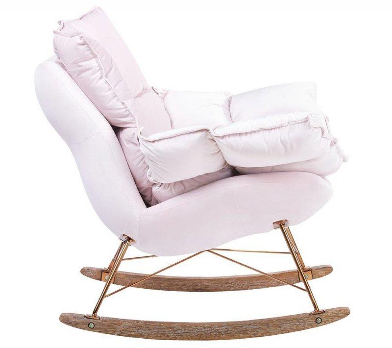 Fotel bujany SWING VELVET jasny róż - welur, podstawa miedziana, drewno dębowe