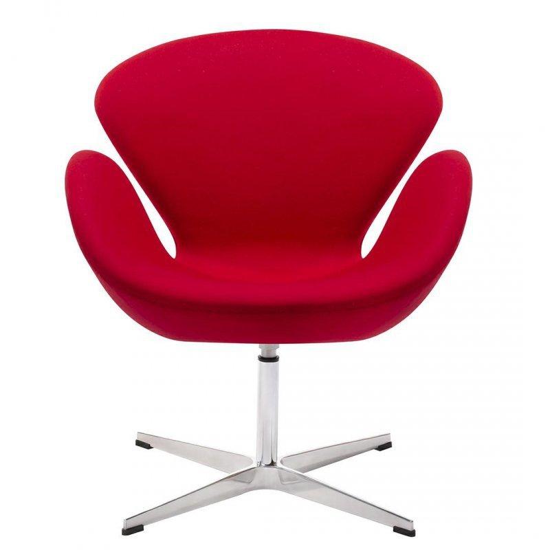 Fotel SWAN WOOL PREMIUM czerwony - wełna, podstawa stal