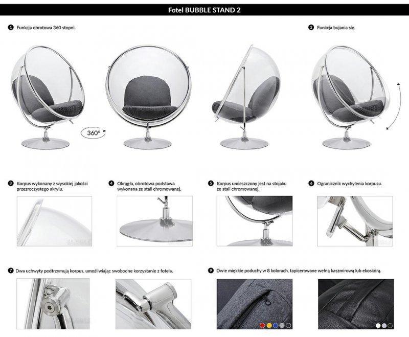 Fotel BUBBLE STAND 2 poduszka szara - akryl, chrom, wełna