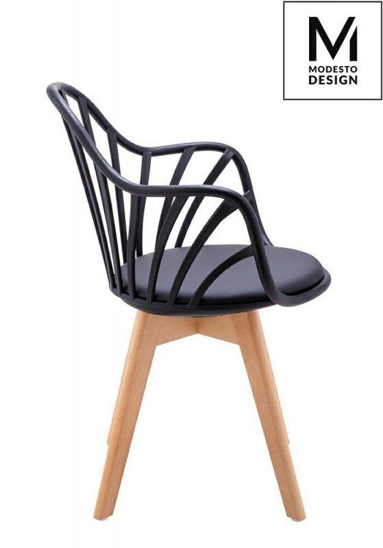 MODESTO fotel ALBERT ARM czarny - polipropylen, ekoskóra, drewno bukowe