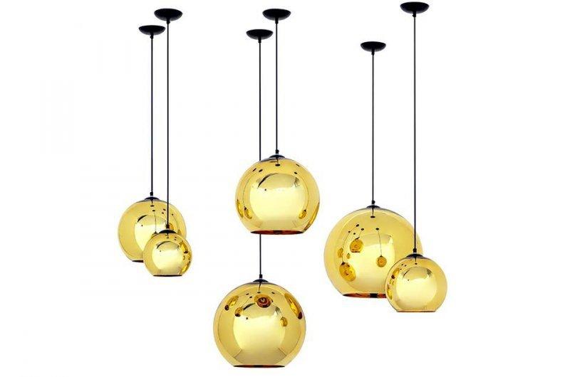 Lampa wisząca BOLLA UP GOLD 25 złota - szkło metalizowane