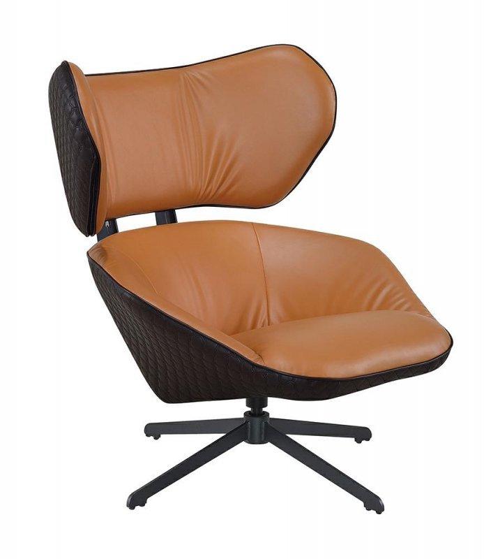 Fotel COMFORT brązowy - ekoskóra, metal