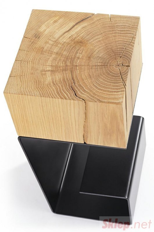 Stolik EGON czarny - blat dębowy, podstawa metalowa