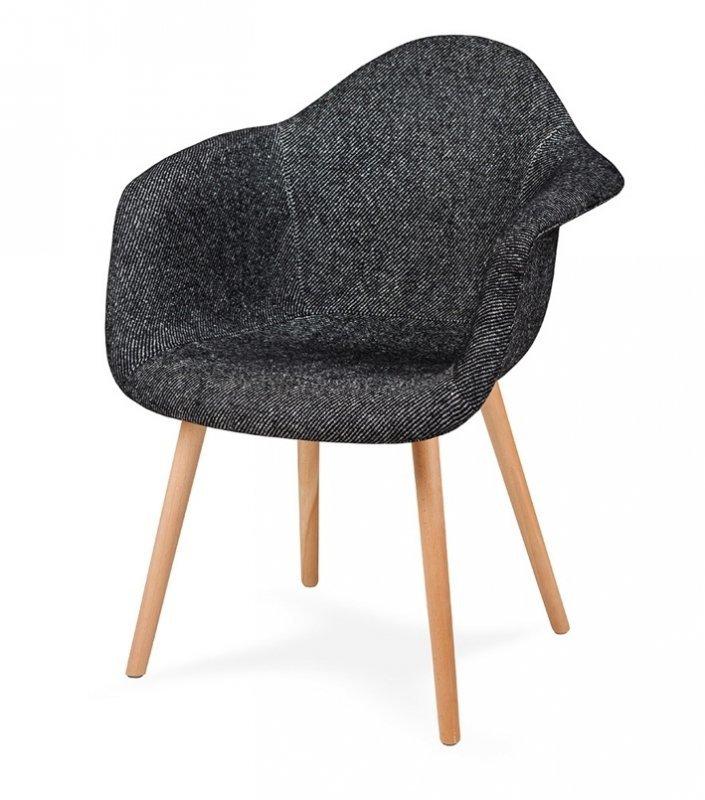 Fotel PLUSH czarna zebra - podstawa bukowa