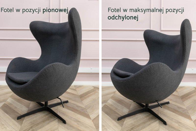 Fotel EGG CLASSIC marchewkowy.38 - wełna, podstawa aluminiowa